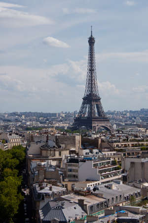 Arc de Triomphe: View of Paris from the Arc de Triomphe Stock Photo