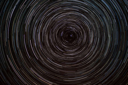 lapse: Sky at night with startrails Stock Photo