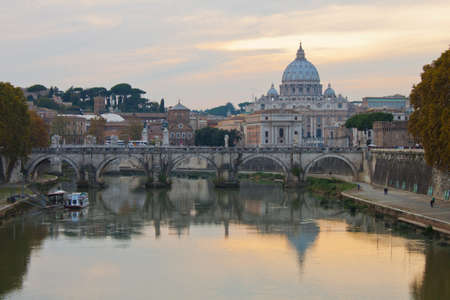 peter: Saint Peter Basilica in Rome at sunset