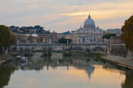 Saint Peter Basilica in Rome at sunset