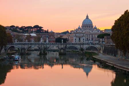 Saint Peter Basilica at sunset. photo