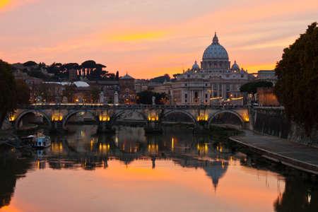 Saint Peter Basilica at sunset.