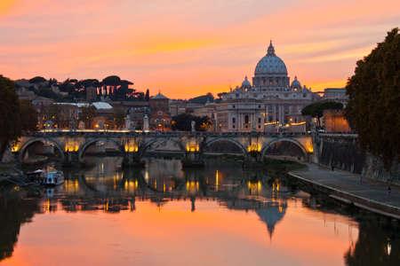 vatican city: Saint Peter Basilica at sunset.