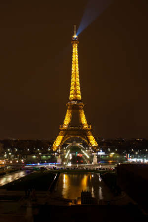 Paris - 12 March 2011: Eiffel Tower at night. The Eiffel tower is the most visited monument of France. Stock Photo - 11109013