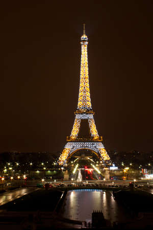trocadero: Paris - 12 March 2011: Eiffel Tower at night. The Eiffel tower is the most visited monument of France.