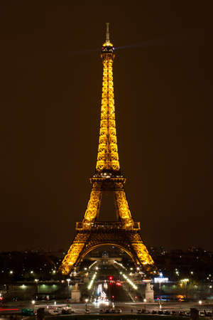 Paris - 12 March 2011: Eiffel Tower at night. The Eiffel tower is the most visited monument of France.