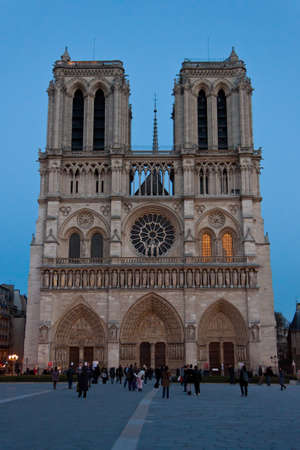 dame: Notre Dame de Paris in the evening. Editorial