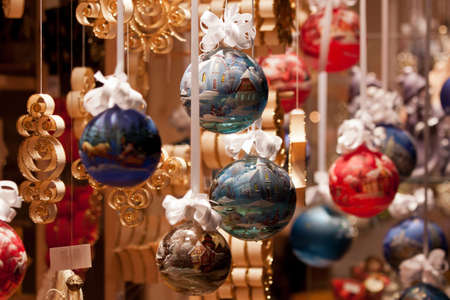 viennese: Christmas Decoration in the Viennese Christmas Market Stock Photo
