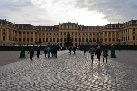 christkindlmarkt: Vienna, Austria, 21 December 2011 - Schonbrunn Palace at Christmas. Schonbrunn Palace was the imperial summer residence. During Christmas there is a market in front of the Palace. Editorial