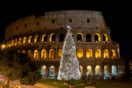 Coliseum and Christmas Tree in Rome, Italy Stock Photo - 11901078