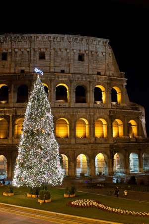 Coliseum and Christmas Tree in Rome, Italy