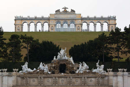 Schonbrunn Garden and the Gloriette in Vienna, Austria photo