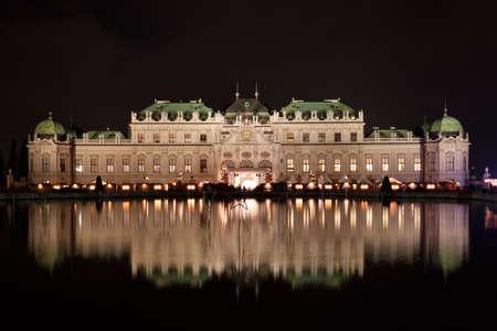 schloss: Schloss Belvedere at night in Vienna, Austria. Stock Photo