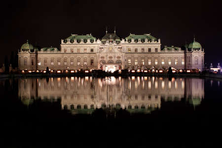 Schloss Belvedere at night in Vienna, Austria. photo
