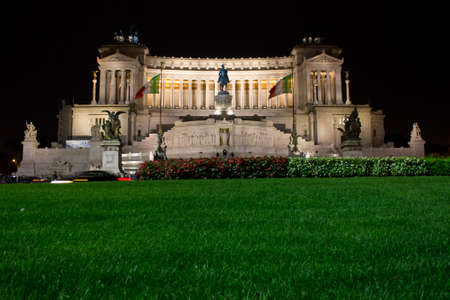 The Victor Emmanuel II monument at night. photo