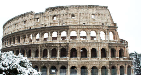 Coliseum with snow, Rome. Stock Photo - 12223248