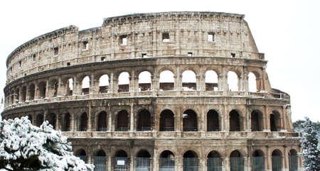 Coliseum with snow, Rome. Stock Photo - 12223248