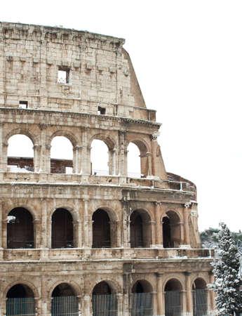 Coliseum with snow, Rome. photo