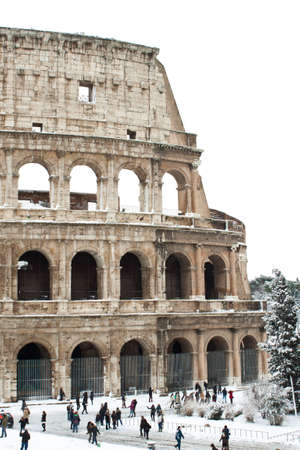 Rome, Italy, 4 February 2012 - Amazing view of the Coliseum with snow. Snowfalls in Rome are very rare, the last similar snowfall was in 1985. Stock Photo - 12160291