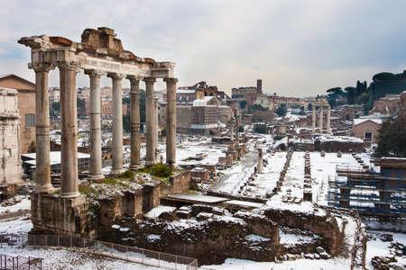 Roman Forum with snow. photo