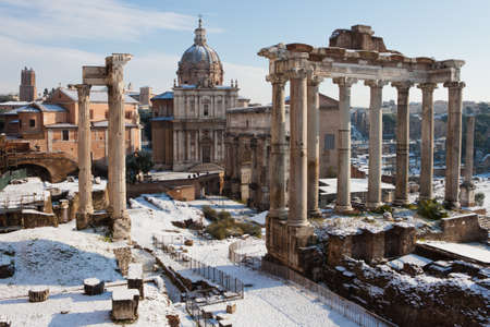Roman Forum with snow  photo