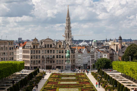 belgium: Cityscape of Brussels from Monts des Arts