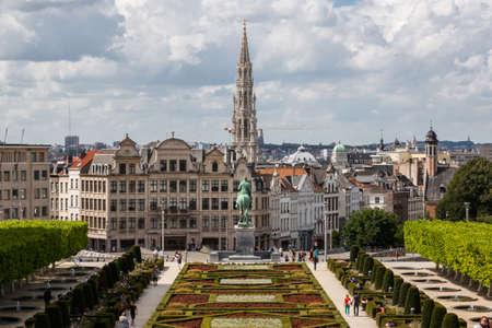 belgie: Stadsgezicht van Brussel van Monts des Arts Stockfoto