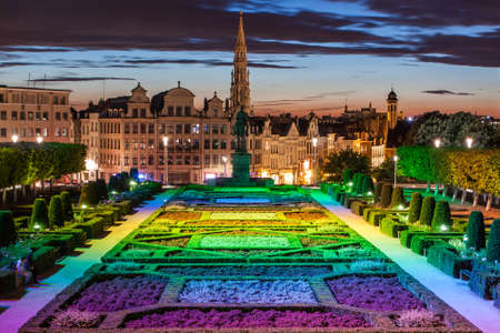 grand palace: Cityscape of Brussels from Monts des Arts at dusk