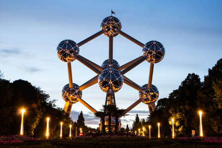 Brussels, Belgium, 04 August 2012 - The Atomium in Brussels at dusk. Editorial