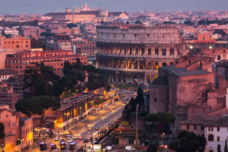Cityscape of Rome at dusk photo