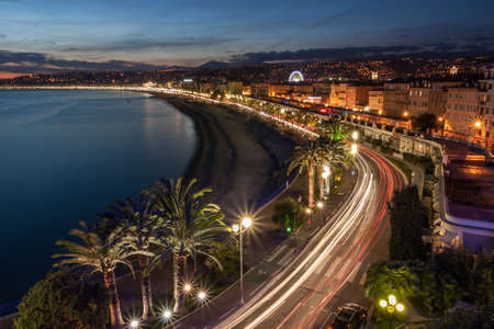 nice  france: Cityscape of Nice in the French Riviera at dusk, France.