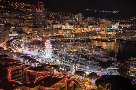 Monte Carlo skyline at night, French Riviera