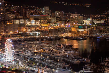 Monte Carlo skyline at night, French Riviera photo