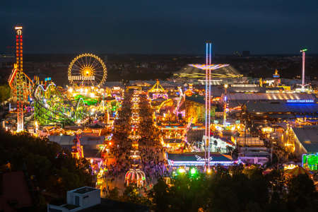 View of the Oktoberfest in Munich at night. photo