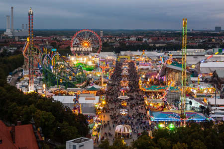 octoberfest: View of the Oktoberfest in Munich at night.