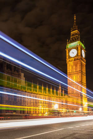 Big Ben and night traffic on Westminster Bridge photo