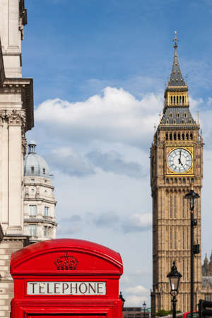 telephone box: Traditional Red Telephone Box and Big Ben in London, UK