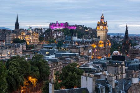 Edinburgh Skyline from Calton Hill at dusk, Scotland, UK