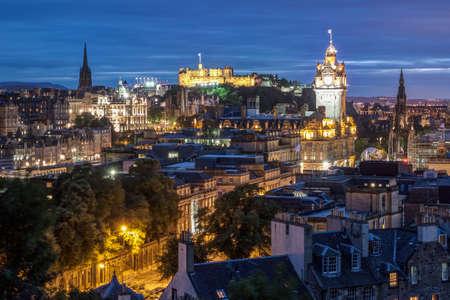 Edinburgh Skyline from Calton Hill at night, Scotland, UK