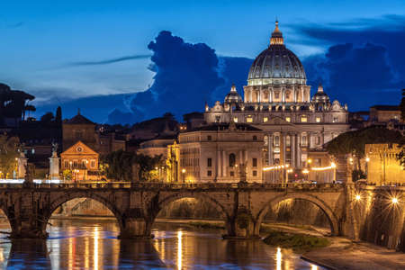 basilica of saint peter: St. Peter's Basilica at night in Rome, Italy