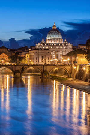 pietro: St. Peter's Basilica at night in Rome, Italy