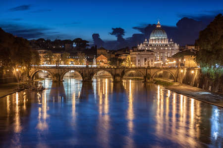 peter: St. Peter's Basilica at night in Rome, Italy
