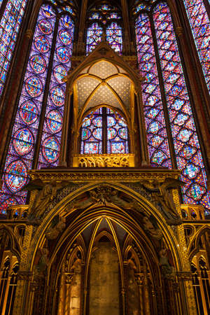 Paris, France, December 24, 2013 - Interiors of the Sainte-Chapelle  Holy Chapel   The Sainte-Chapelle is a royal medieval Gothic chapel in Paris and one of the most famous monument of the city