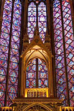 ile de la cite: Paris, France, December 24, 2013 - Interiors of the Sainte-Chapelle  Holy Chapel   The Sainte-Chapelle is a royal medieval Gothic chapel in Paris and one of the most famous monument of the city  Editorial