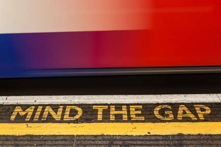 London, England, July 31, 2013 - Mind the Gap, London underground