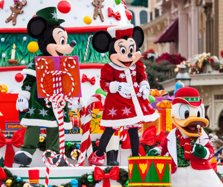 PARIS – December 31, 2013 – Disney Christmas Parade in Disneyland Paris. Editorial