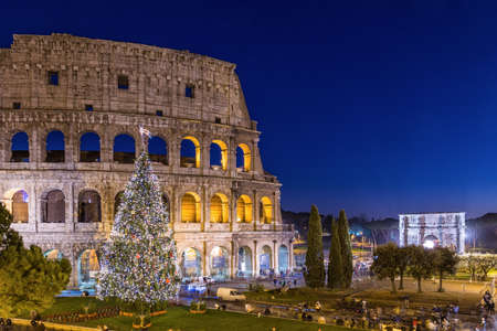 europe travel: Colosseum in Rome at Christmas, Italy Stock Photo