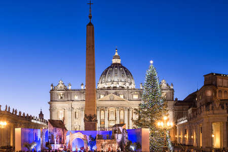 pietro: St. Peter Basilica at Christmas in Rome, Italy Stock Photo