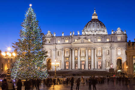 St. Peter Basilica at Christmas in Rome, Italy Stock Photo