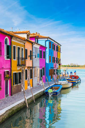 Painted houses of Burano, in the Venetian Lagoon, Italy. photo
